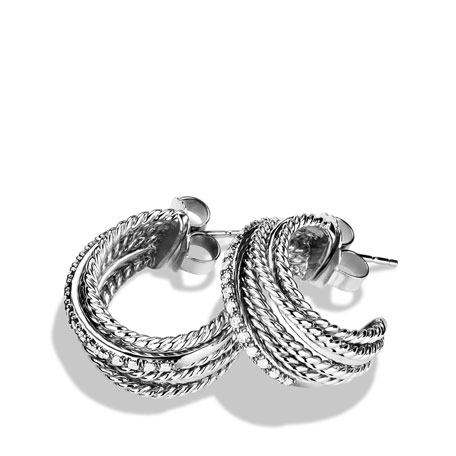 Crossover Earrings with Diamonds