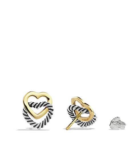 Cable Heart Link Earrings with Gold