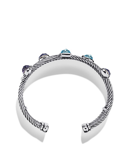 Confetti Five-Row Cuff with Blue Topaz, Iolite, and Diamonds