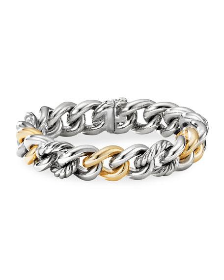 David Yurman Curb Chain Bracelet with 14K Yellow Gold, Size L