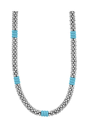 Lagos Blue Caviar Ceramic Station Necklace, 5mm