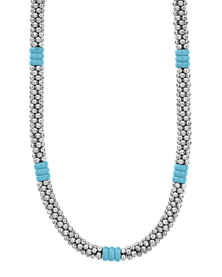 Image 1 of 4: Lagos Blue Caviar Ceramic Station Necklace, 5mm