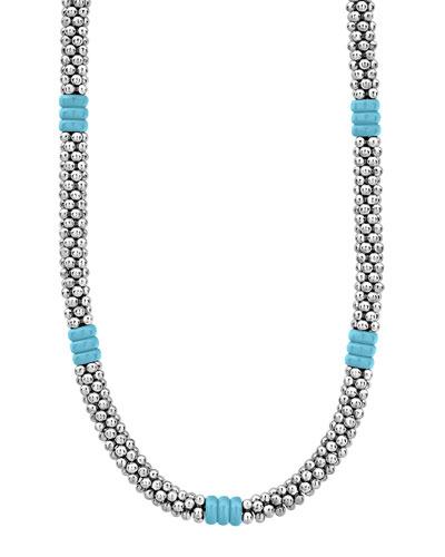 Blue Caviar Ceramic Station Necklace  5mm