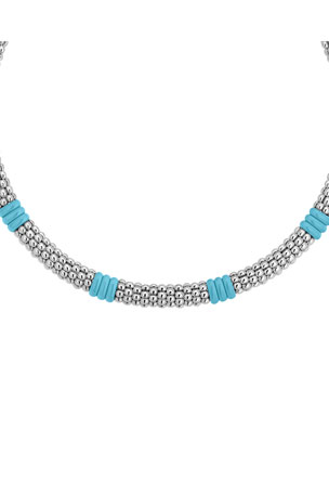 Lagos Blue Caviar Ceramic Station Necklace, 9mm, 18""