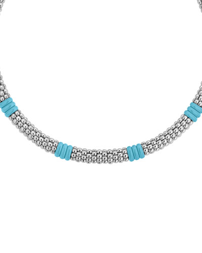 Blue Caviar Ceramic Station Necklace  9mm  18