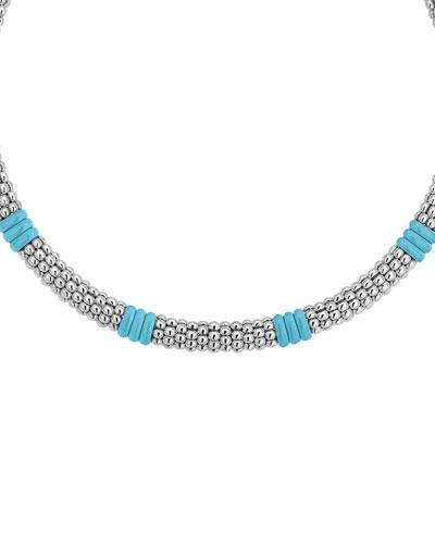Blue Caviar Ceramic Station Necklace  9mm