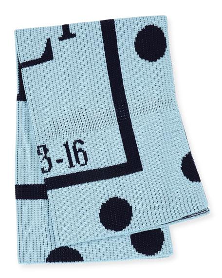 Polka-Dot Knit Blanket, Blue