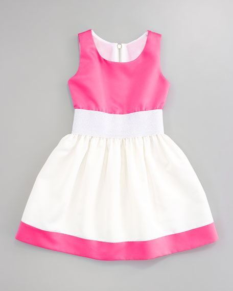 Metallic Waist Colorblock Dress, Sizes 2-6