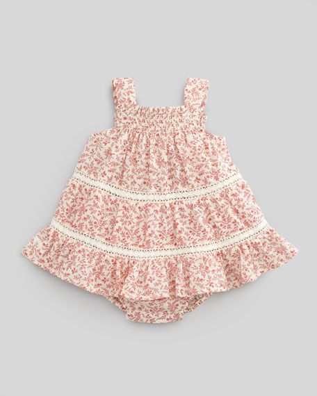 Floral-Print Tiered Bubble Dress, 3-9 Months