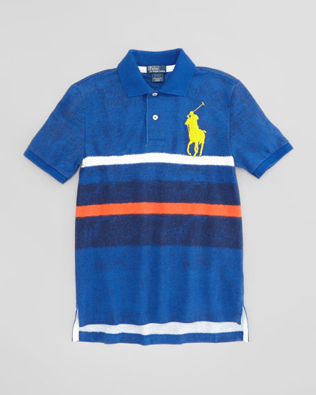 Striped Mesh Polo Shirt, French Navy, XL