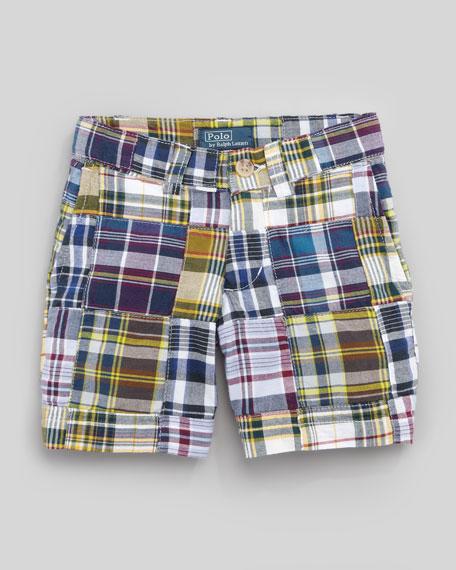Blue Plaid Patchwork Shorts, Sizes 8-10