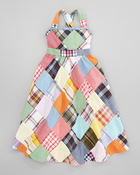 Patchwork Plaid Maxi Dress, Sizes 2T-6X