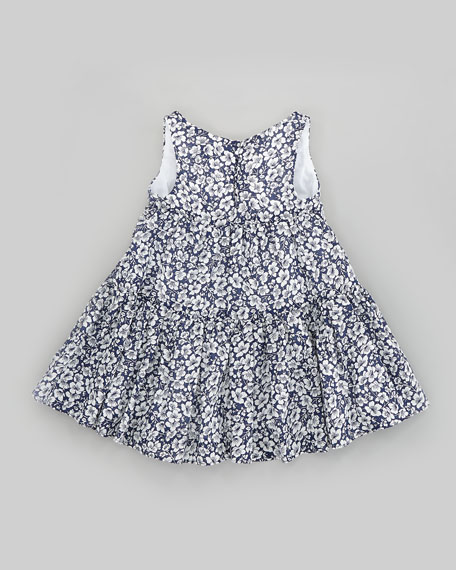Floral-Print Crochet-Trim Dress, Sizes 2T-6X