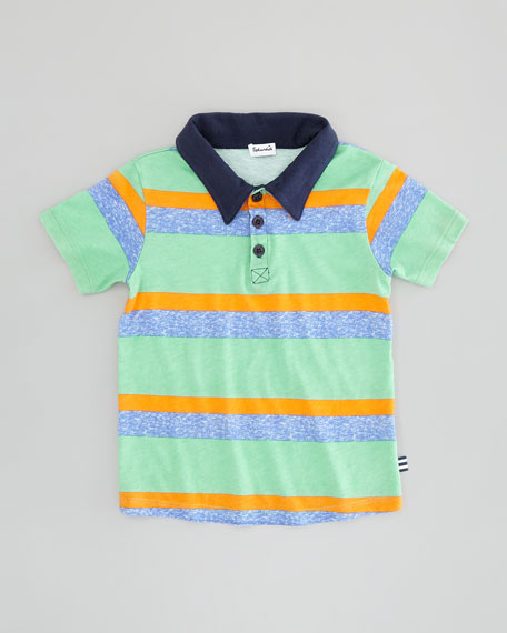Asher Stripe Polo, Vintage Kelly, Sizes 4-6X