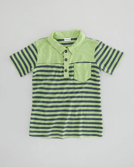 French-Stripe Slub Polo, Vintage Kelly, Sizes 4-6X
