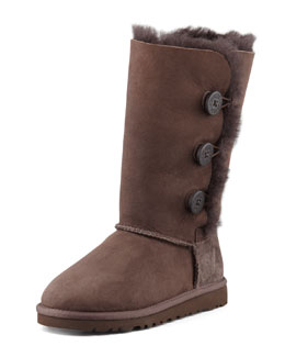 UGG Australia Bailey Triplet Button Tall Boot, Chocolate Brown, Youth