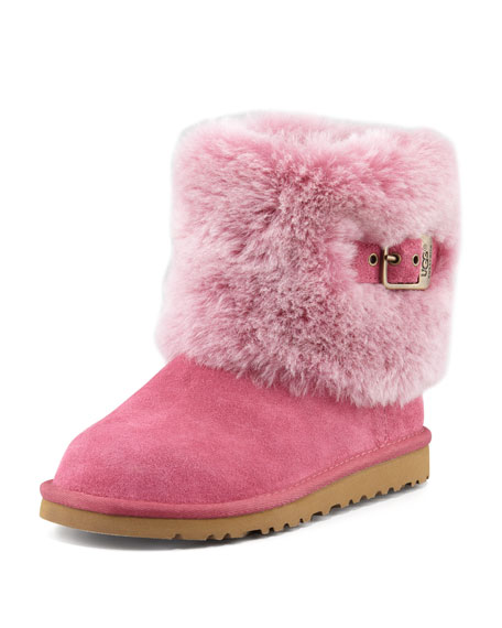Toddler & Youth Elle Buckle-Cuff Short Boot, Dusty Rose