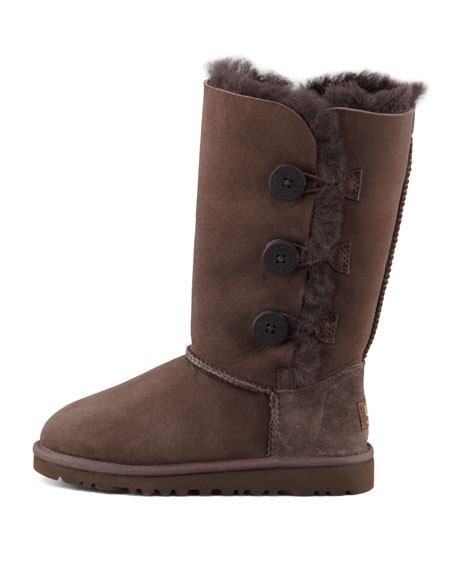Bailey Triplet Button Tall Boot, Chocolate Brown, 5-6Y