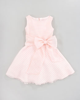 Zoe Stripe Bow Organza Dress, Sizes 2-6