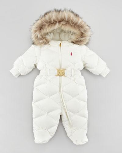 Ralph Lauren Childrenswear Footed Down Snowsuit Cream 3