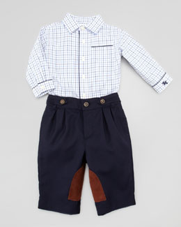 Ralph Lauren Childrenswear Tattersall Shirt & Riding Pants Set, 3-9 Months