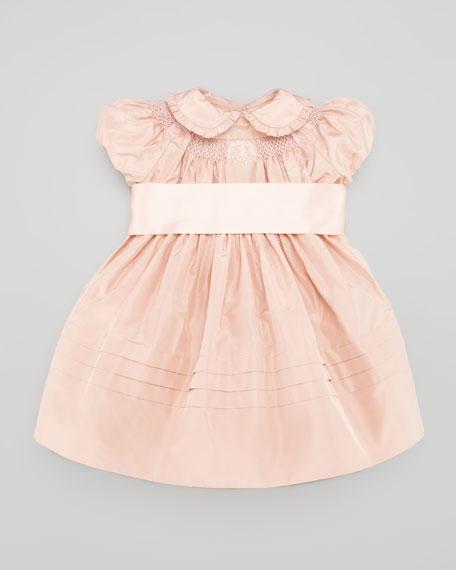 Silk Taffeta Smocked Dress, Dusty Rose, 3-9 Months