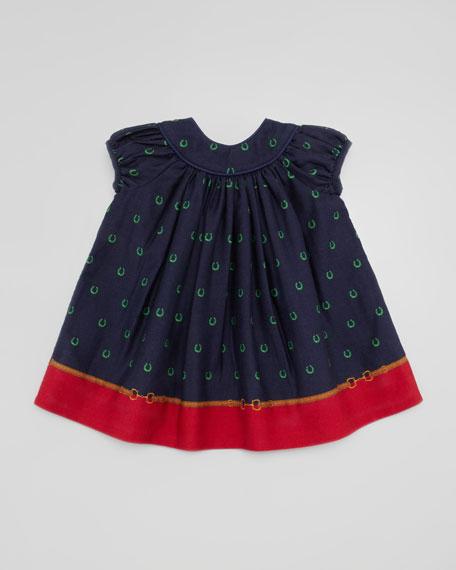 Border Horseshoe-Print Dress, 3-9 Months