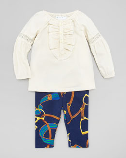 Ralph Lauren Long Juliet Sleeve Tunic & Bridle-Print Leggings Set, 3-9 Months