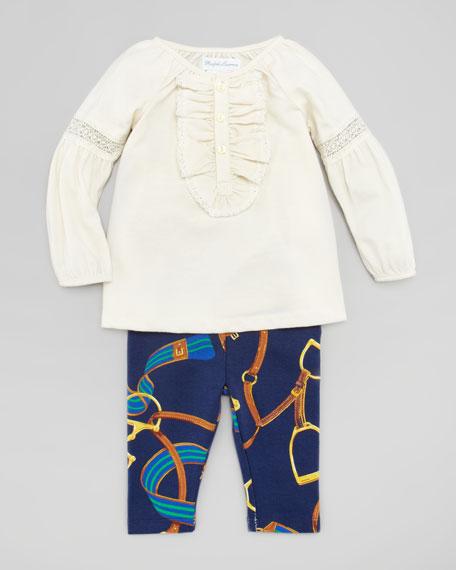 Long Juliet Sleeve Tunic & Bridle-Print Leggings Set, 3-9 Months