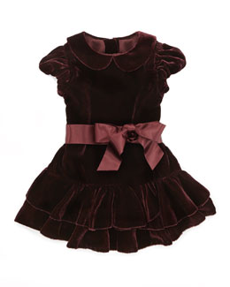 Ralph Lauren Childrenswear Drop-Waist Velvet Dress, Bordeaux, 3-9 Months