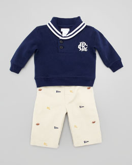 Ralph Lauren Shawl Collar Sweatshirt & Schiffli Pant Set, Sizes 3-9 Months