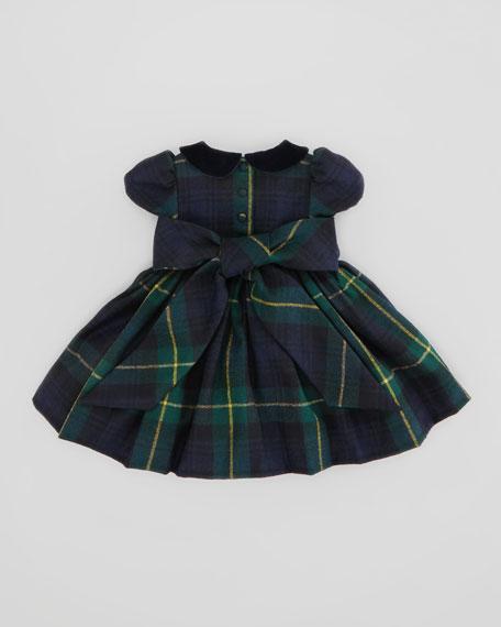 Tartan-Plaid Party Dress, Green/Navy, 9-24 Months