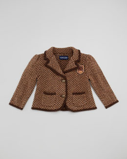 Ralph Lauren Childrenswear Herringbone Tweed Jacket, Brown, Sizes 9-24 Months