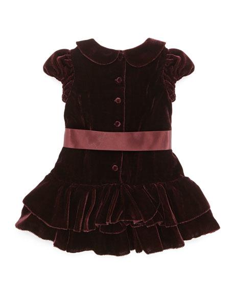 Drop-Waist Velvet Dress, Bordeaux, 9-24 Months