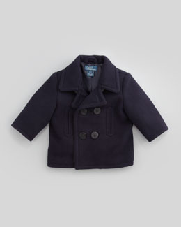 Ralph Lauren Childrenswear Naval Pea Coat, Newport Navy, 9-24 Months