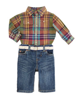 Ralph Lauren Childrenswear Matlock Shirt & Denim Pants Set, Green Multi, 9-24 Months