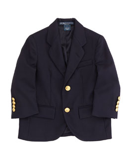 Ralph Lauren Childrenswear Two-Button Wool Blazer, Navy, Sizes 2T-3T