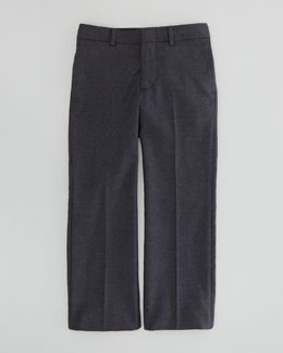 Ralph Lauren Childrenswear Wool-Twill Flat-Front Pants, Dark Gray, Sizes 2-3