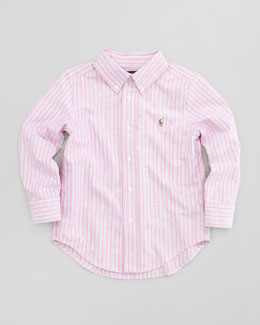 Ralph Lauren Childrenswear Blake Long-Sleeve Striped Oxford Shirt, Red Multi, Sizes 2-3