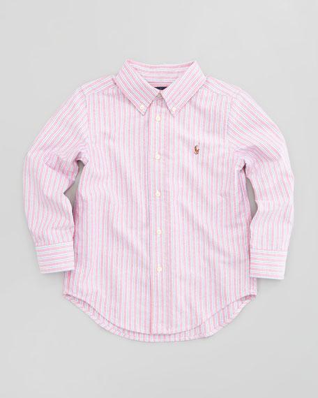 Blake Long-Sleeve Striped Oxford Shirt, Red Multi, Sizes 2-3