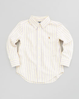 Ralph Lauren Childrenswear Blake Long-Sleeve Striped Oxford Shirt, Yellow-Multi, Sizes 2-3