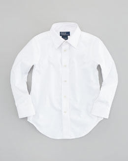 Ralph Lauren Childrenswear Lowell Long-Sleeve Dress Shirt, White, Sizes 4-7
