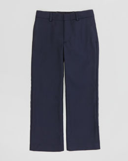 Ralph Lauren Childrenswear Wool-Twill Flat-Front Pants, Navy, Sizes 4-7