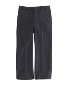 Ralph Lauren Childrenswear Wool-Twill Flat-Front Pants, Dark Gray, Sizes 4-7