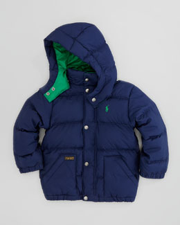 Ralph Lauren Childrenswear Varsity Down Quilted Jacket, New Port Navy, Sizes 2-3