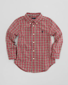 Ralph Lauren Childrenswear Blake Long-Sleeve Plaid Poplin Shirt, Red Multi, Sizes 2-3