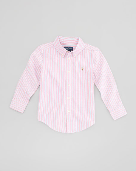 Blake Long-Sleeve Striped Oxford Shirt, Red Multi, Sizes 4-7