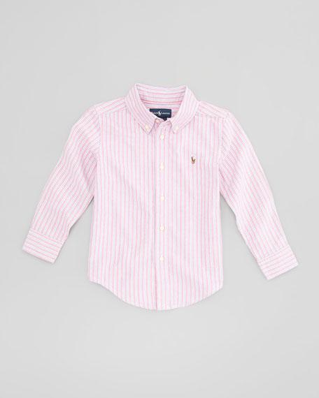 Blake Long-Sleeve Striped Oxford Shirt, Red Multi, Sizes 4-7