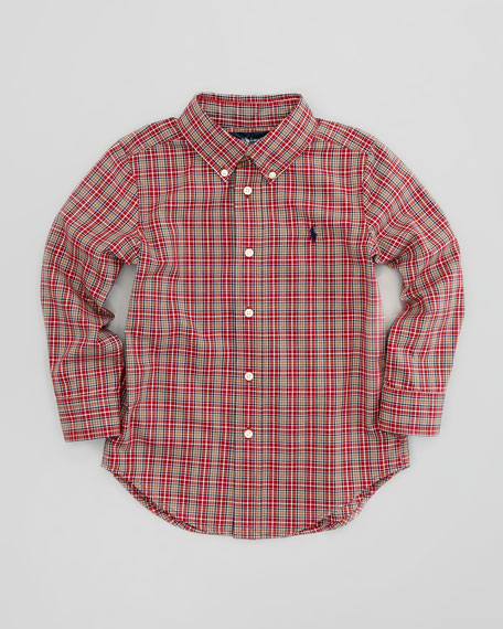 Blake Long-Sleeve Plaid Poplin Shirt, Red Multi, Sizes 4-7