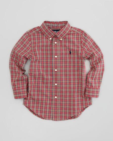 Blake Long-Sleeve Plaid Poplin Shirt, Red Multi, Sizes 4-7
